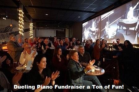 Rotarians Enjoy Deuling Pianos Fundraiser