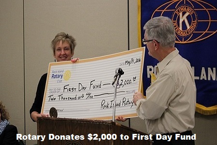 Rotary Donates $2000 to First Day Fund