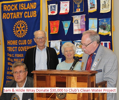 Sam & Hilde Wray Donate $30,000 to Club's Clean Water Project